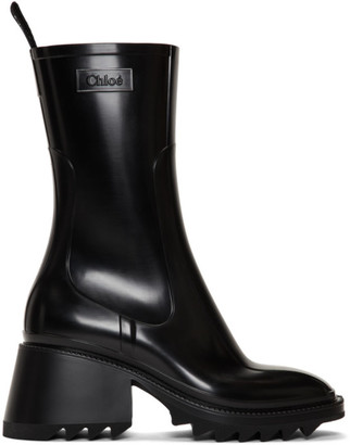 Chloé Black PVC Betty Rain Boots