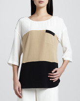 Go Silk Colorblock Silk Tunic