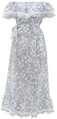 Marysia Swim Lemnos Ruffled Broderie-anglaise Cotton Dress - Womens - Blue Print