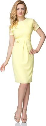 FUTURO FASHION Women's Elegant Round Neck Short Sleeves Knee Lenght Midi Lace Dress FK1573 Mint