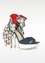 Loriblu Multicolor Foulard and Nappa Leather Sandal