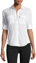 James Perse Contrast-Panel Tab-Sleeve Blouse
