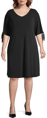 WORTHINGTON Worthington Short Sleeve A-Line Dress-Plus