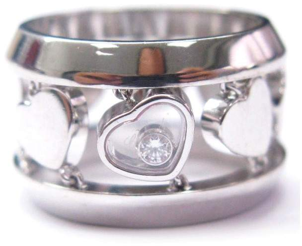 Chopard 18K Diamonds Heart Wide Ring White Gold