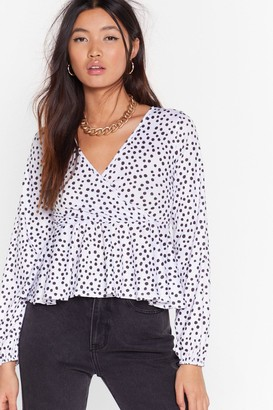 Nasty Gal Womens Sorry Dot Going Cropped Wrap Top - White