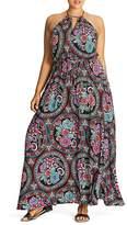 City Chic Folklore Floral Print Maxi Dress