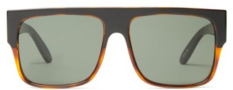 Le Specs Bravado Oversized Flat-top Acetate Sunglasses - Black Brown