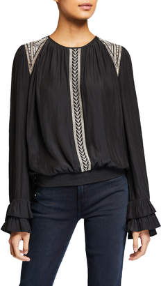 Ramy Brook Thora Embroidered Long-Sleeve Blouse