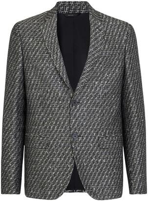 Fendi Camouflage FF Jacquard Wool Blend Sport Coat