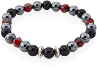 Jean Claude Onyx & Ruby-Tone Stretch Bracelet