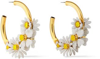 Elizabeth Cole 24-karat Gold-plated, Resin And Swarovski Crystal Hoop Earrings