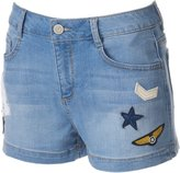 SO Juniors' SO® High-Waisted Patch Jean Shortie Shorts