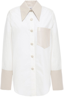 Nanushka Imari Vegan Leather And Cotton-poplin Shirt