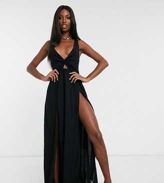 ASOS DESIGN TALL tie back beach maxi dress with twist front detail in black