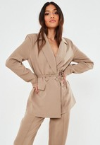 Missguided Petite Stone Co Ord Wrap Belted Blazer