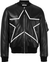 Givenchy star embroidered biker jacket - men - Cotton/Lamb Skin/Polyester/Wool - 46