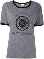 Saint Laurent logo patch T-shirt - women - Cotton - XS