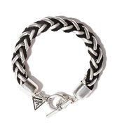 GUESS Silver-Tone and Black Leather Braided Bracelet