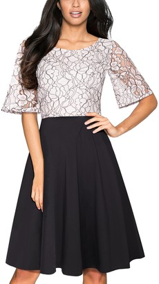 HOMEYEE Women's Floral Round Neck Lace Cocktail Dress A064 (XXL