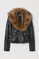 H&M Faux fur collar biker jacket
