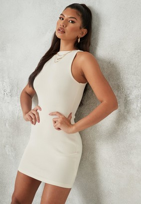 Missguided Cream Rib Wide Neck Sleeveless Mini Dress