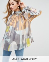 Asos High Neck Blouse in Abstract Print