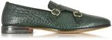 Santoni Green Croco Print Leather Monk Strap Shoes