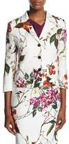 Escada Floral Printed Matelasse Jacket, Multicolor/White