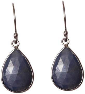 ADORNIA Black Rhodium Plated Sterling Silver Pear-Cut Blue Sapphire Drop Earrings