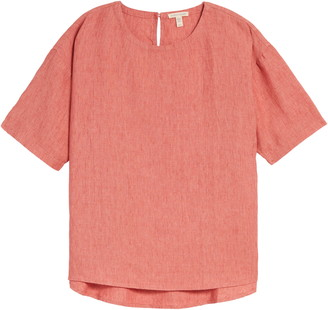 Eileen Fisher Curved Hem Organic Linen Top