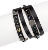 Saachi Tasha Black Genuine Leather Wrap Bracelet