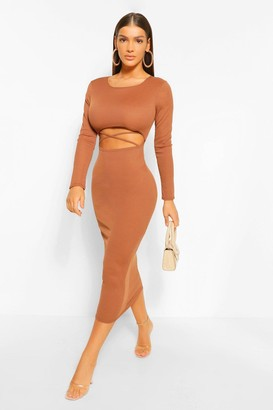 boohoo Cut Out Rib Long Sleeve Midaxi Dress