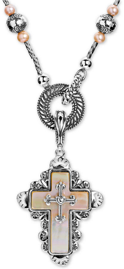"""American West Mother of Pearl Cross 28"""" Pendant Necklace in Sterling Silver"""