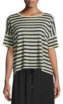 Eileen Fisher Short-Sleeve Striped Linen-Blend Top, Natural/Black, Petite