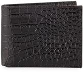 Neiman Marcus Crocodile-Embossed Slim Leather Wallet, Black