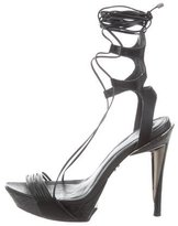 Herve Leger Leather Platform Sandals