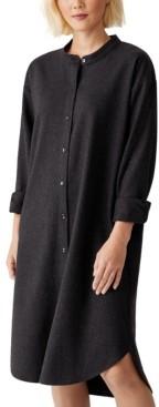 Eileen Fisher Button-Down Wool Shirt Dress