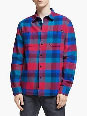 Edwin Labour Check Shirt, Red/Dress Blue