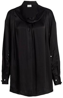 3.1 Phillip Lim Satin Oversized Drape Collar Shirt
