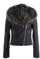 Quiz Black PU Stone Faux Fur Biker Jacket