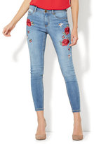 New York & Co. Soho Jeans - Embroidered High-Waist Ankle Legging - Medium Blue Wash
