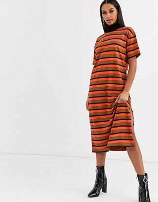 Asos DESIGN high neck midi t-shirt dress in orange and brown stripe