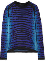 Proenza Schouler Pointelle-trimmed Intarsia Silk Sweater - Royal blue