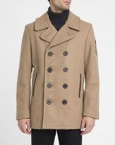 Schott NYC Beige Made in USA Wool Pea Coat