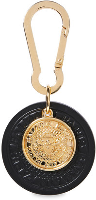Balmain Gold-tone And Embossed Leather Keychain