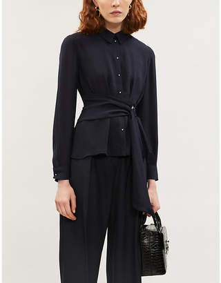 Claudie Pierlot Belted crepe blouse