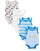 Sweet & Soft Blue & Gray Bear Four-Pair Bodysuit Set - Infant