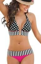 LOVEBEAUTY Love-beauty Women's Polka Dots Bikini Top Striped Bottom Swimsuit