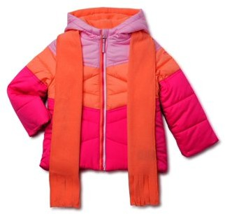 Swiss Alps Toddler Girl Colorblock Winter Jacket Coat with Free Gift Scarf, 2pc Set