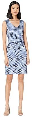 Nic+Zoe Plus Size Crossover Twist Dress (Blue Multi) Women's Clothing